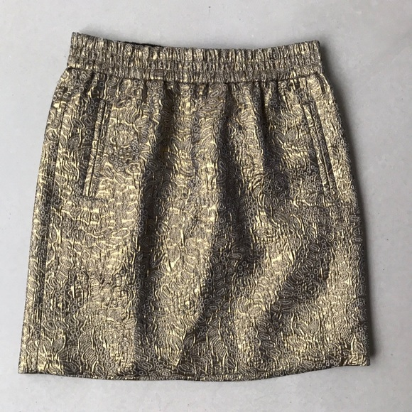 6420bf10f7 LOFT Skirts | Hp Gold Metallic Jacquard Mini Skirt | Poshmark